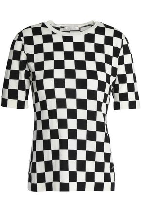 NINA RICCI Gingham wool and silk-blend stretch-knit top