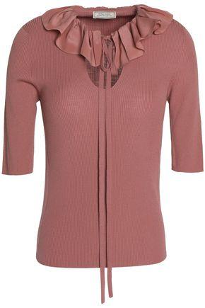 NINA RICCI Ruffled ribbed-knit wool and silk-blend top
