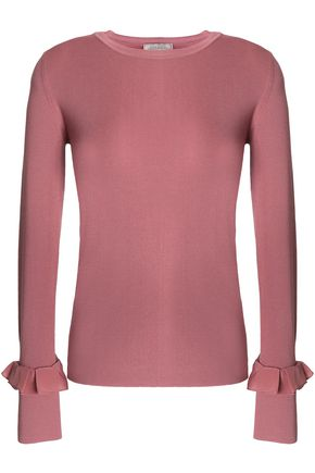 NINA RICCI Ruffle-trimmed ribbed-knit wool top