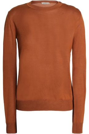 NINA RICCI Rib-trimmed cashmere and silk-blend top