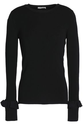 NINA RICCI Ruffle-trimmed stretch-knit wool top