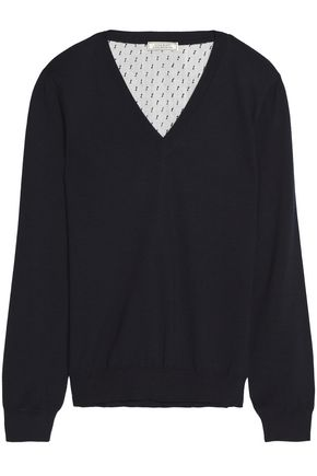 NINA RICCI Tulle-paneled wool and silk-blend top