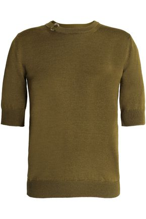 NINA RICCI Rib-trimmed stretch-knit wool and silk-blend top