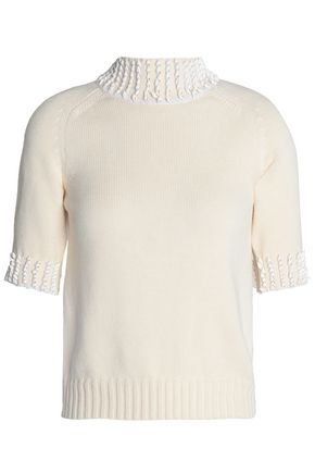 NINA RICCI Appliquéd ribbed-knit  turtleneck top