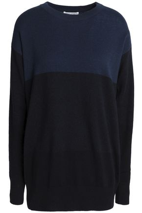 CURRENT/ELLIOT + CHARLOTTE GAINSBOURG Two-tone knit cashmere sweater