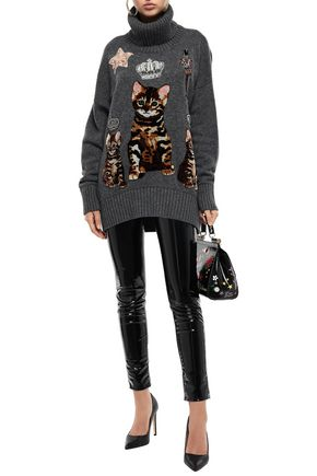 Dolce & Gabbana Sweaters DOLCE & GABBANA WOMAN EMBELLISHED APPLIQUÉD CASHMERE TURTLENECK SWEATER ANTHRACITE