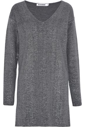 JIL SANDER Metallic wool-blend mini dress