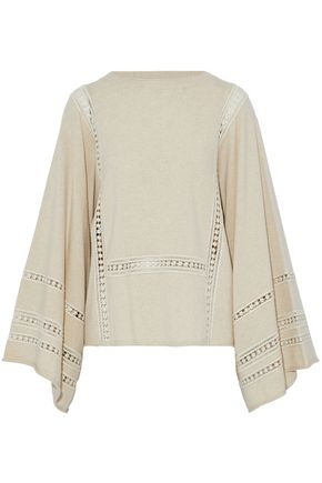 CHLOÉ Crochet-trimmed wool and cashmere-blend sweater