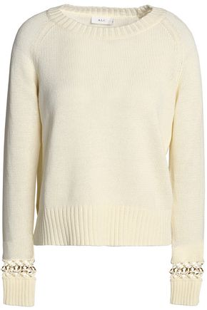 A.L.C. Embellished knitted cotton sweater