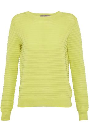 HALSTON HERITAGE Neon ribbed cotton-blend sweater