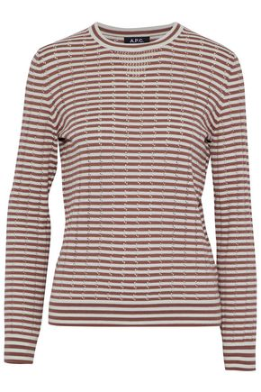 A.P.C. Striped pointelle-knit cotton, silk and cashmere-blend sweater