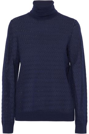 A.P.C. Pointelle-knit wool and silk-blend turtleneck sweater