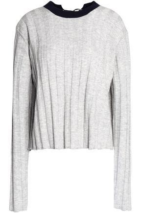 DEREK LAM 10 CROSBY Buckle-detailed ribbed-knit wool-blend sweater