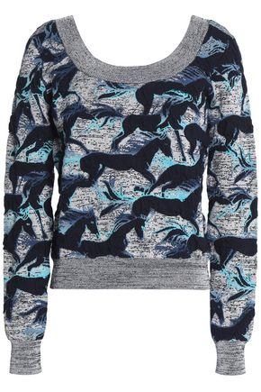 JUST CAVALLI Printed lamé jacquard-knit sweater