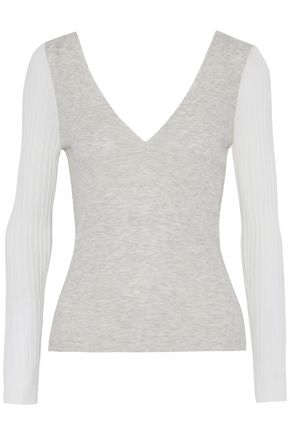 T by ALEXANDER WANG Ruched paneled knitted top