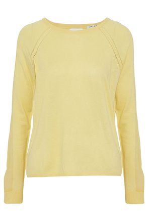 HALSTON HERITAGE Chiffon-paneled cutout knitted sweater