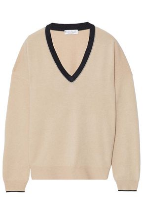 BRUNELLO CUCINELLI Beaded virgin wool and cashmere-blend sweater