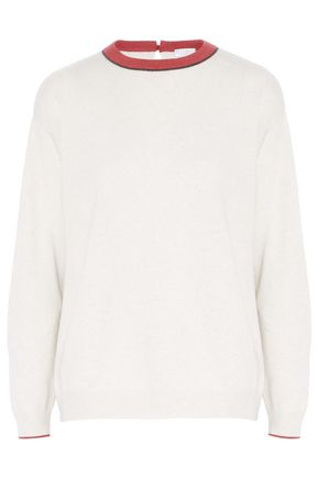 BRUNELLO CUCINELLI Bead-embellished two-tone wool, cashmere and silk-blend sweater