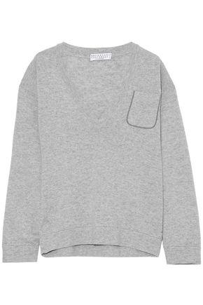 BRUNELLO CUCINELLI Bead-embellished melangé cashmere sweater
