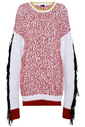 JOSEPH Oversized fringed felt-trimmed intarsia cotton-blend sweater