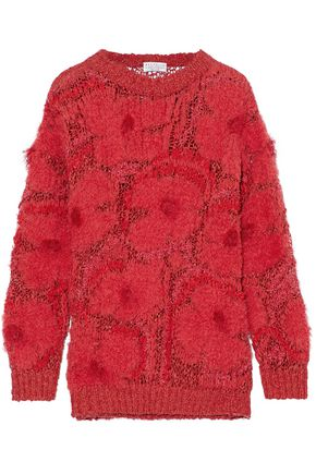WOMAN FRAYED BOUCLÉ AND OPEN-KNIT SWEATER RED