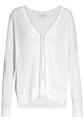 BRUNELLO CUCINELLI Bead-embellished slub linen-blend cardigan