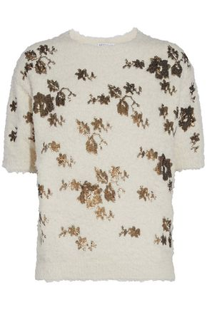 BRUNELLO CUCINELLI Metallic sequin-embellished frayed cotton-blend sweater
