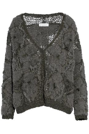 BRUNELLO CUCINELLI Frayed bouclé and open-knit cardigan