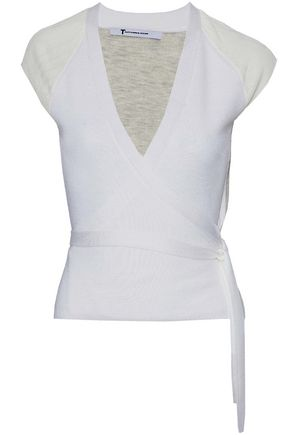 T by ALEXANDER WANG Two-tone merino wool wrap top