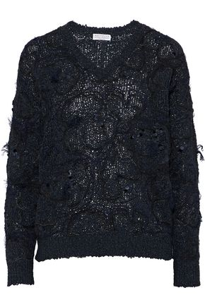 BRUNELLO CUCINELLI Embellished embroidered open-knit sweater