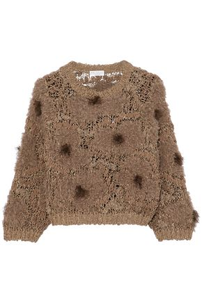 BRUNELLO CUCINELLI Frayed embellished bouclé and open-knit sweater