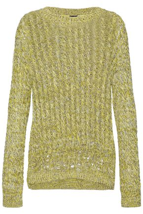 JOSEPH Marled open cable-knit cotton-blend sweater