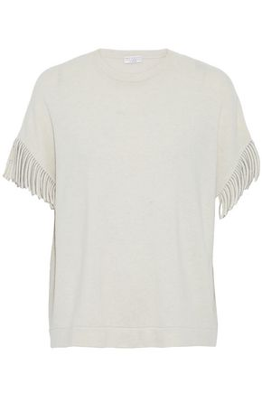 BRUNELLO CUCINELLI Bead-embellished fringed cashmere top