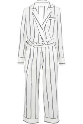 BRUNELLO CUCINELLI Belted cropped bead-embellished striped silk jumpsuit