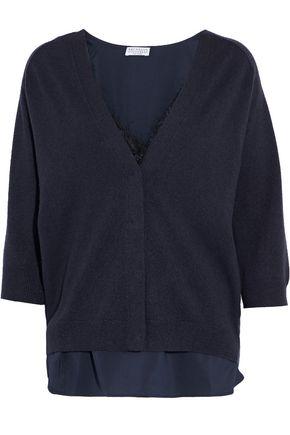BRUNELLO CUCINELLI Layered silk-blend bouclé and cashmere cardigan