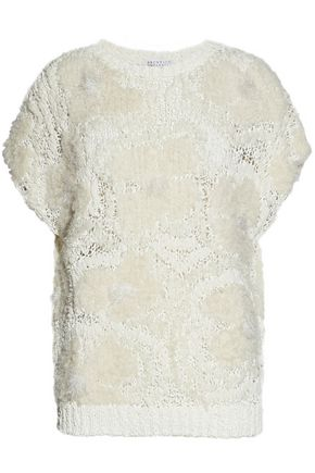 BRUNELLO CUCINELLI Embellished bouclé and open-knit sweater