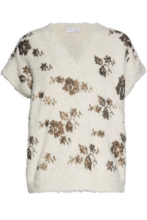 BRUNELLO CUCINELLI Sequin-embellished frayed cotton-blend sweater
