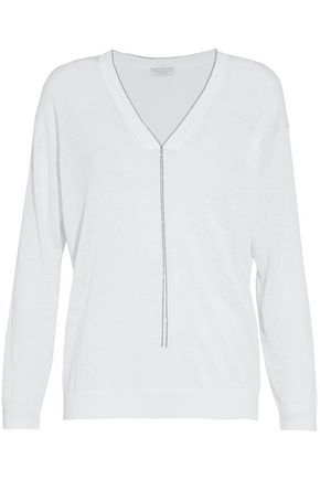 BRUNELLO CUCINELLI Bead-embellished slub linen-blend sweater