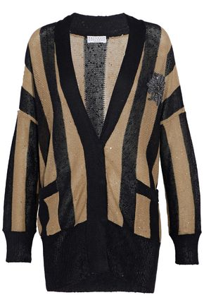 BRUNELLO CUCINELLI Embellished striped knitted linen-blend cardigan