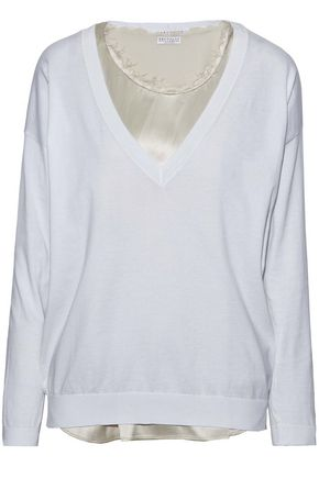 BRUNELLO CUCINELLI Layered cotton-jersey and embellished silk-blend sweater