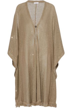 BRUNELLO CUCINELLI Fringe-trimmed sequined linen and silk-blend cardigan