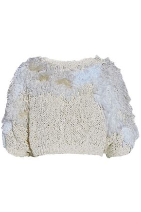 BRUNELLO CUCINELLI Cropped fringed open-knit sweater