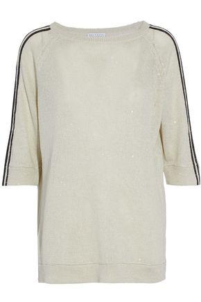 BRUNELLO CUCINELLI Embellished linen and silk-blend sweater