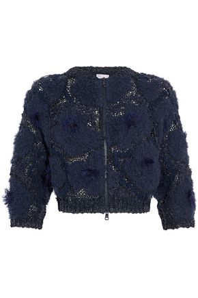 BRUNELLO CUCINELLI Cropped frayed open and bouclé-knit sweater