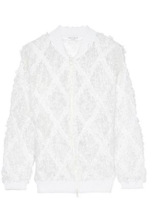 BRUNELLO CUCINELLI Frayed open-knit linen and silk-blend bouclé jacket