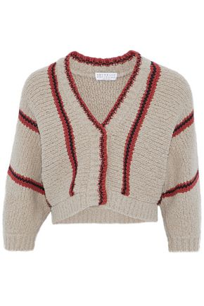 BRUNELLO CUCINELLI Cropped striped wool-blend bouclé cardigan