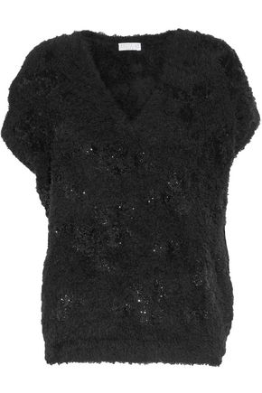 WOMAN FRAYED SEQUINED COTTON-BLEND SWEATER BLACK