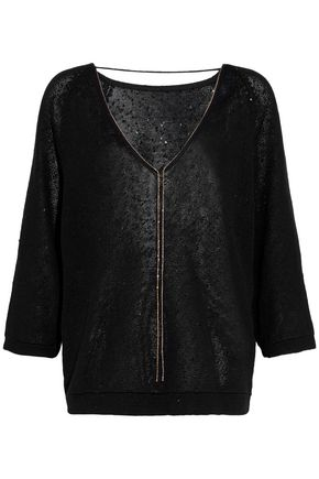 BRUNELLO CUCINELLI Bead-embellished sequined linen and silk-blend sweater