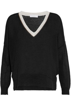 BRUNELLO CUCINELLI Crystal-trimmed paneled knitted cotton top