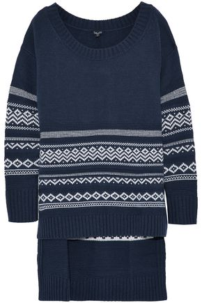 SPLENDID Asymmetric intarsia-knit sweater